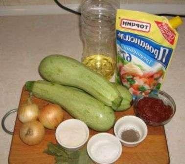 Інгредієнти для кабачкової ікри