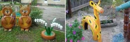 вироби з автомобільних шин для саду