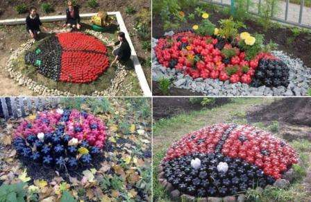 Садова клумба у вигляді сонечка