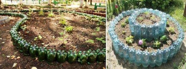 Як зробити садовий бордюр, виконаний з бутилок?