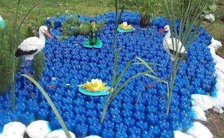 Пластикова клумба - озеро своїми руками