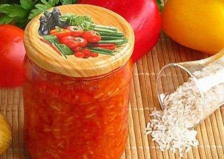 салат помідори з рисом на зиму