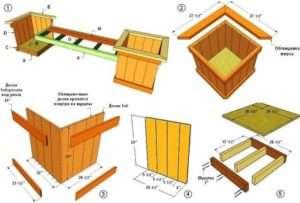 Схема лавки з дерев'яними ящиками для квітів