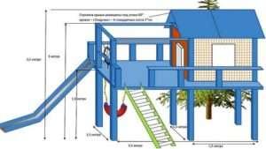 Схема влаштування ігрового дерев'яного будиночка з гіркою і гойдалками