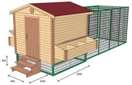 3D-модель зимового курятника з будиночком для птиці і зоною для вигулу