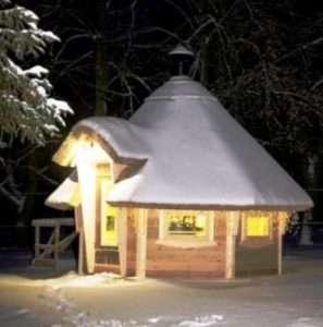Зимова конструкція альтанки з дерева, фото