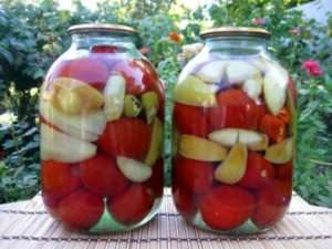 Рецепт помідорів на зиму без оцту з яблуками